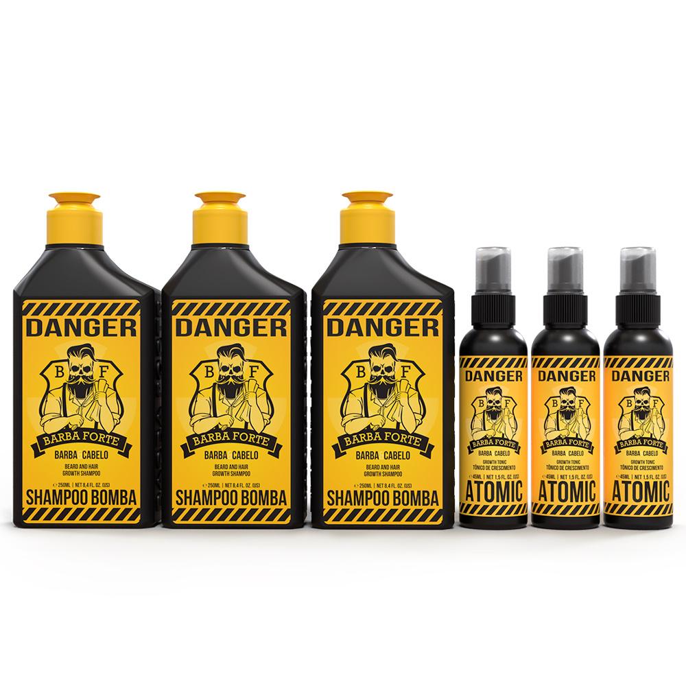 Kit 3x Shampoo Danger 250m + 3x Tônico Atomic Danger 45ml