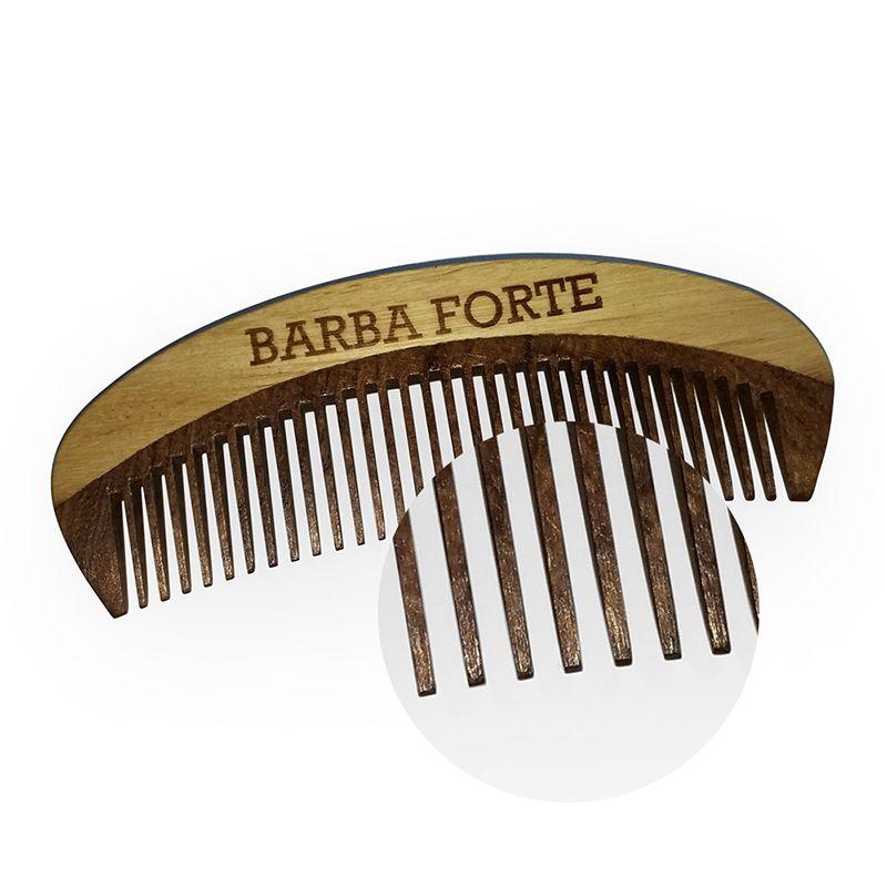 Pente em Madeira Artesanal Barba Forte PT003
