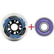 Kit 8 Roda De Patins Roller Inline 80mm Creme Azul + Chazer ABEC 9