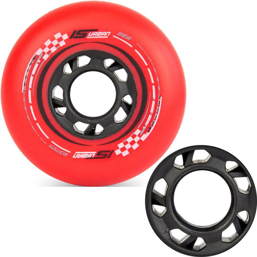 Kit 4 Rodas IS Urban 80mm 86A - Vermelho Fosco