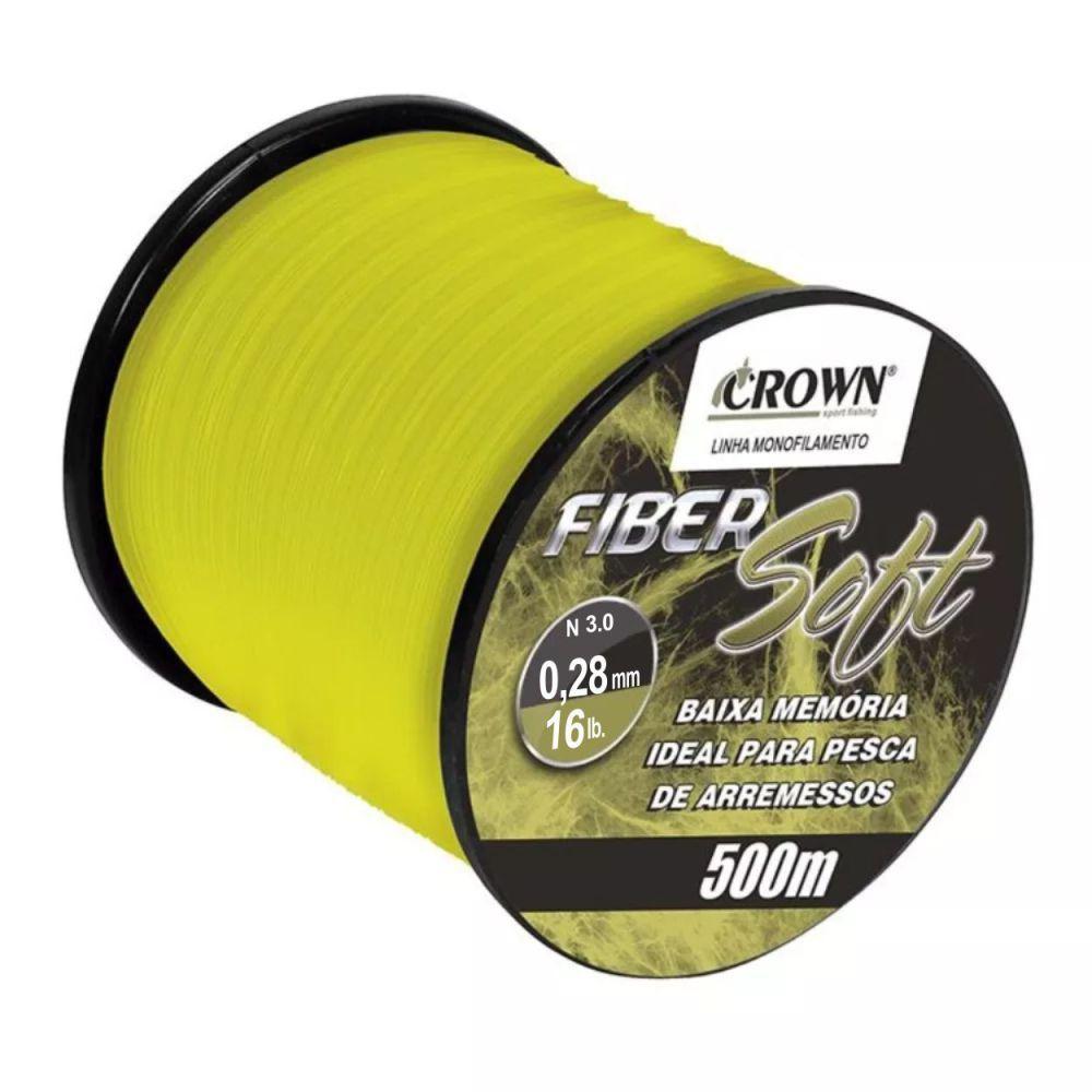 Linha Crown Fiber Soft Amarela 0,28mm - 16 lbs 500m