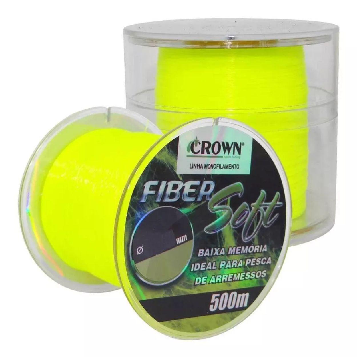 Linha Crown Fiber Soft Amarela 0,37mm - 27 lbs 500m