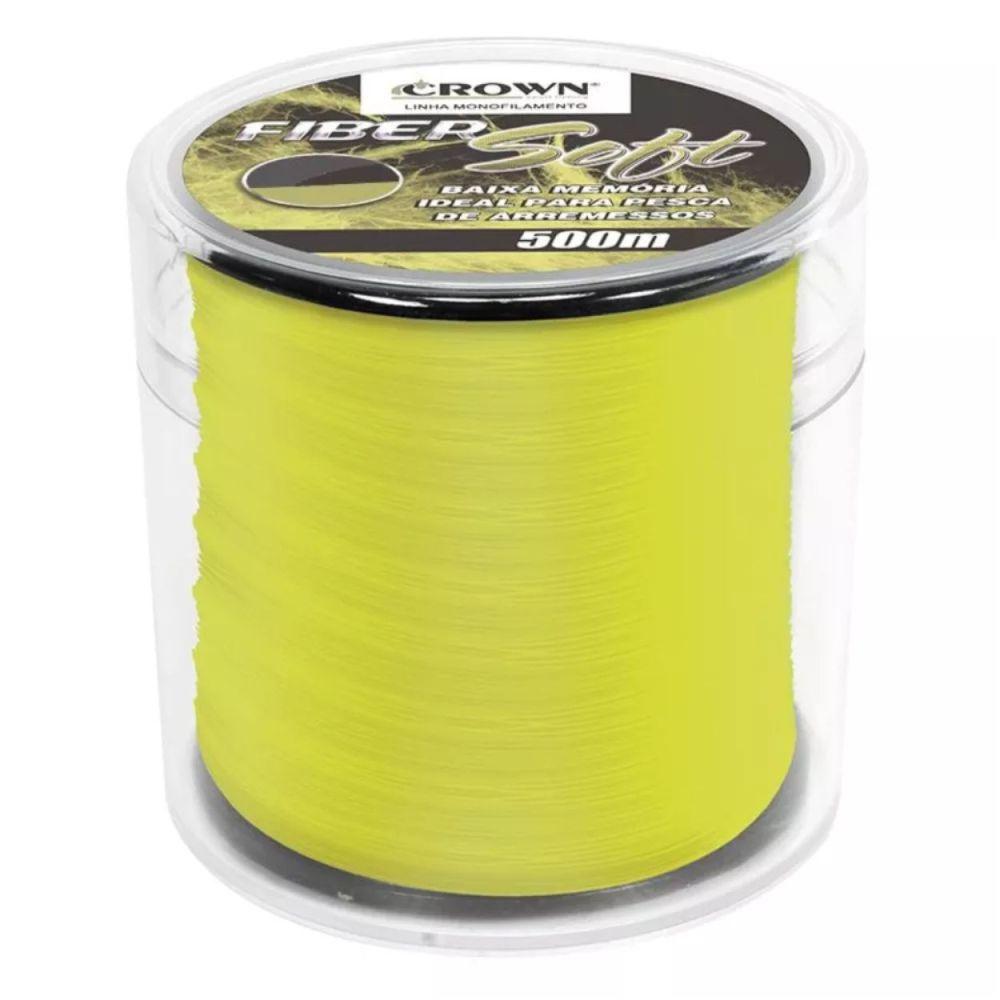 Linha Crown Fiber Soft Amarela 0,47mm - 42 lbs 500m