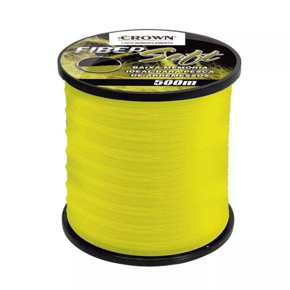 Linha Crown Fiber Soft Amarela 0,52mm - 52 lbs 500m