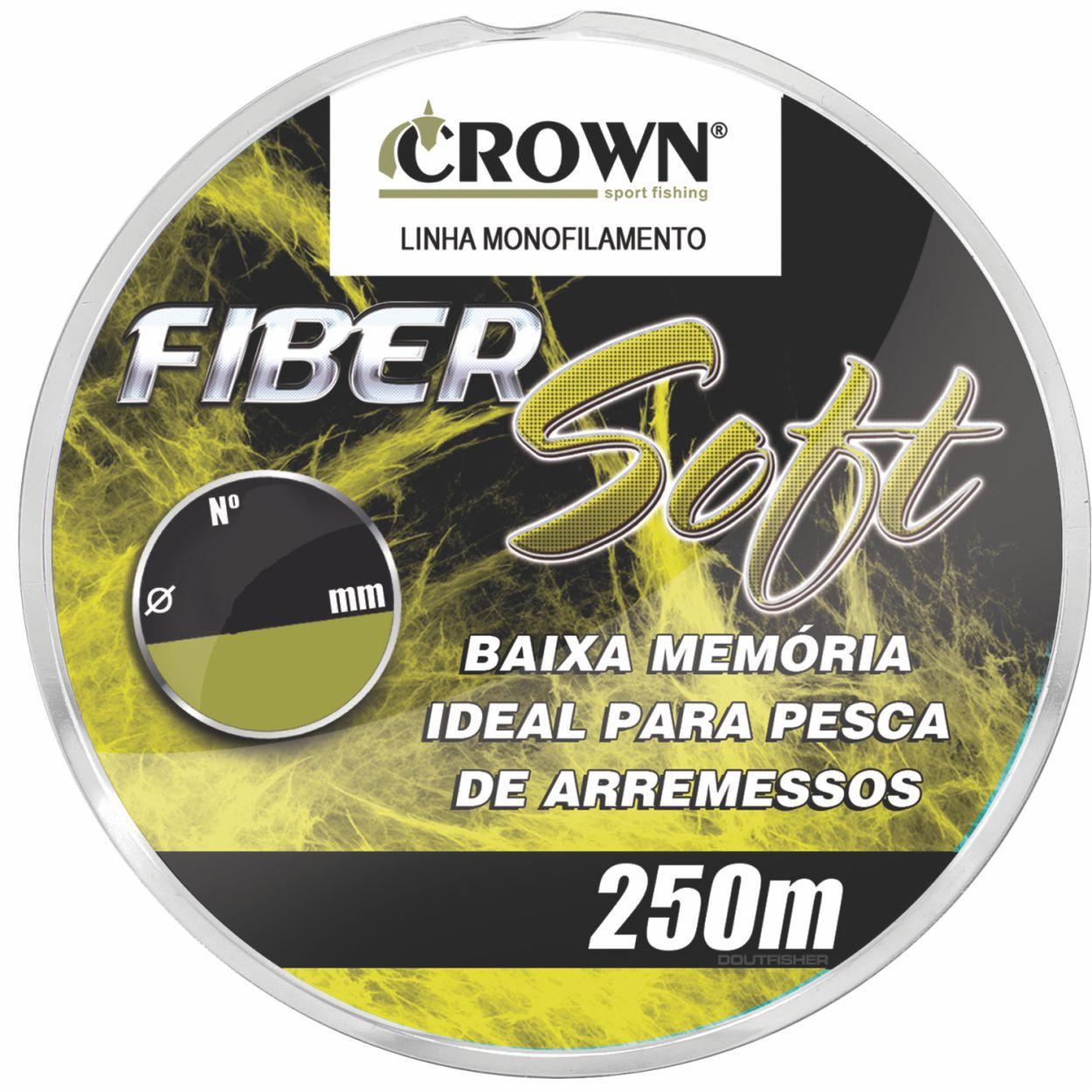 LINHA MONOFILAMENTO CROWN FIBER SOFT AMARELA 250M
