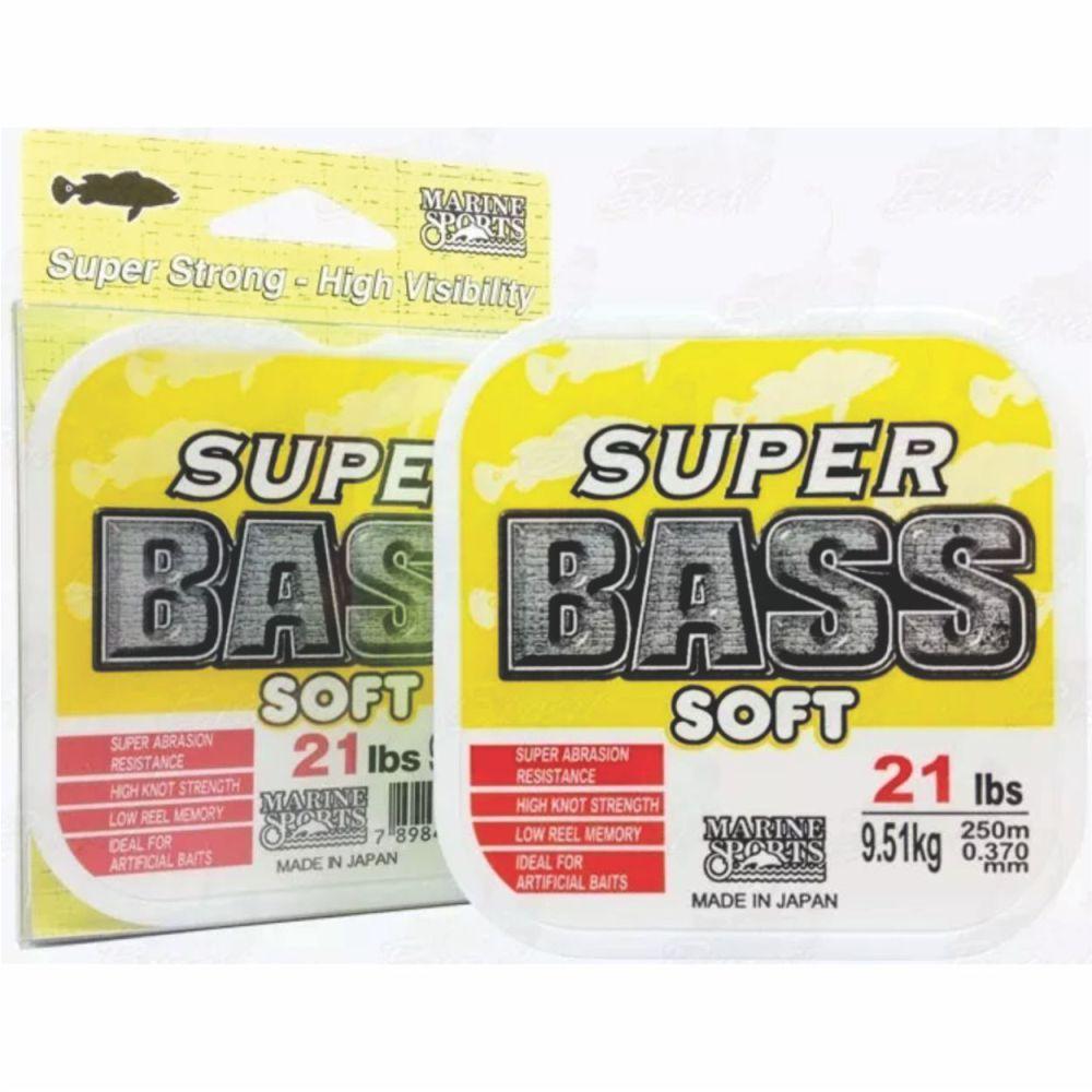 Linha Super Bass Soft 0,370mm 21lb Monofilamento Amarela 250m