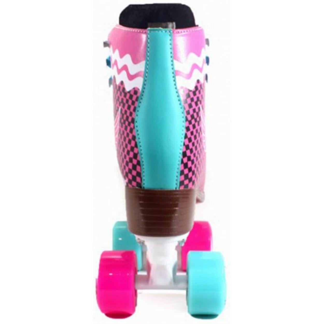 Patins Crème Quad Pink Xadrez 54mm Abec-7 34 BR