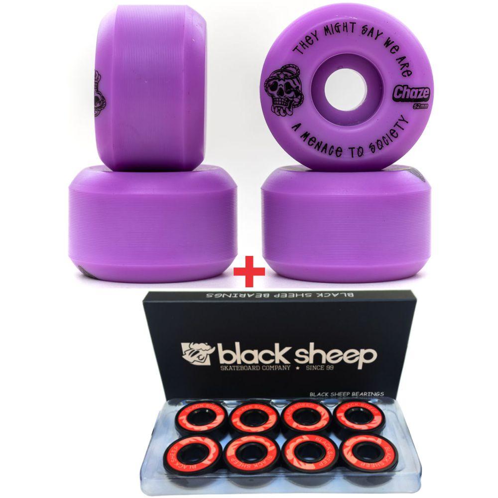 Roda Chaze 52mm 101A Menace + Rolamento Black Sheep Black