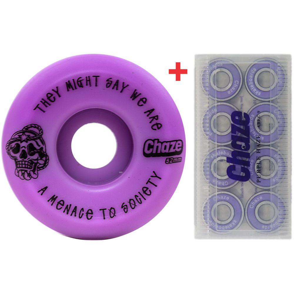 Roda Chaze 52mm 101A Menace + Rolamento Chaze Roxo