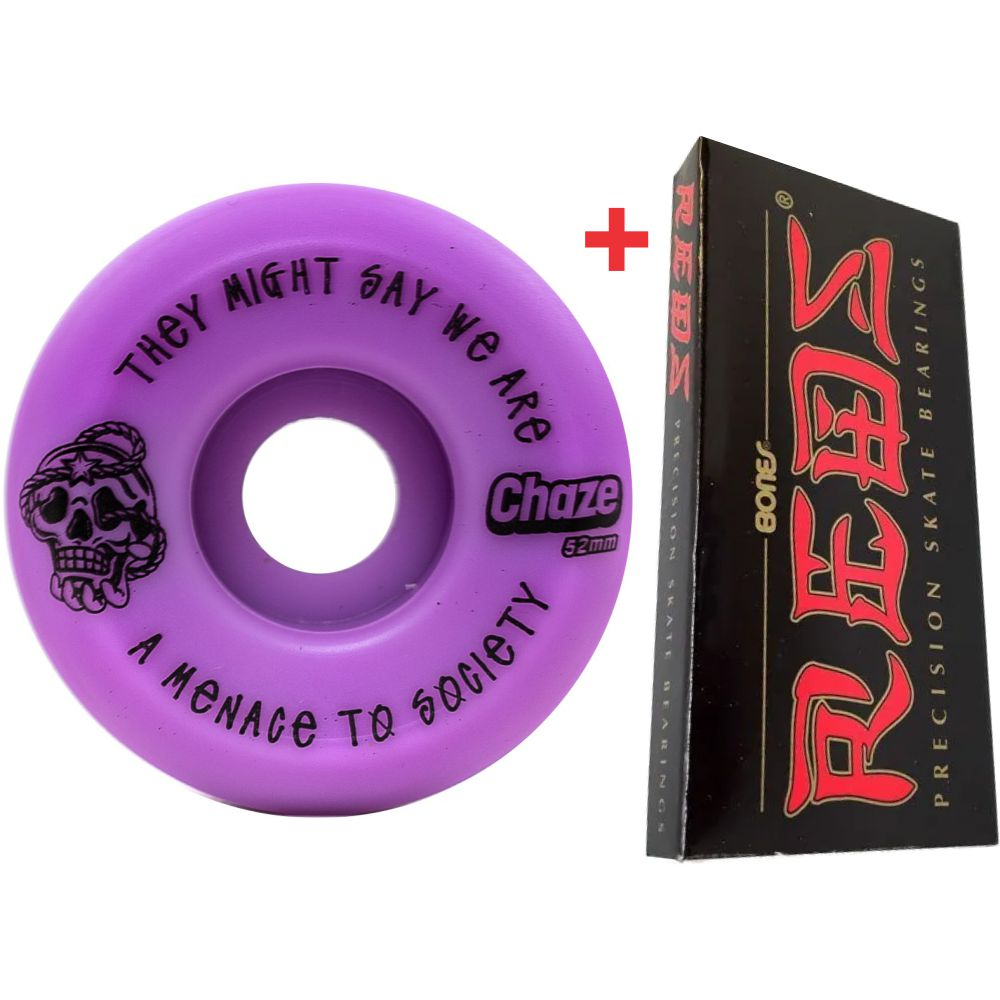 Roda Chaze 52mm 101A Menace + Rolamento Red Bones