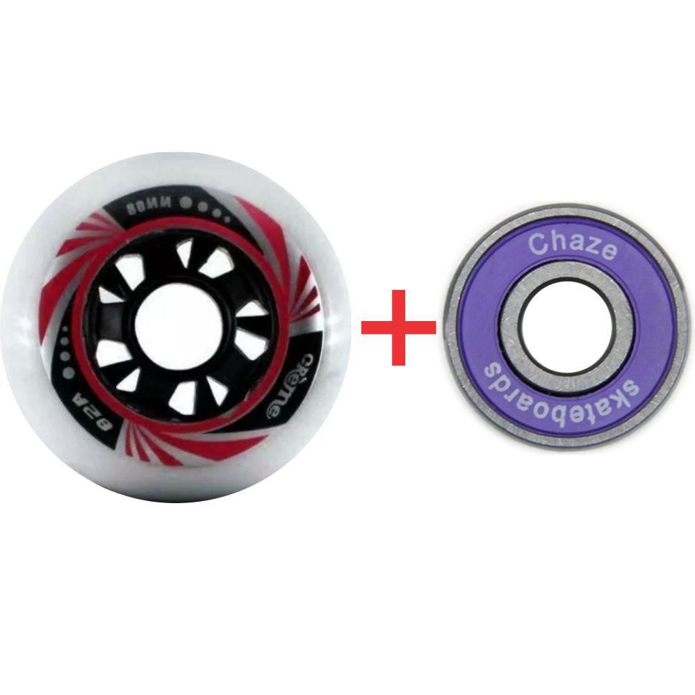 Kit 8 Roda De Patins Roller Inline 80mm Creme Vermelha + Chazer ABEC 9