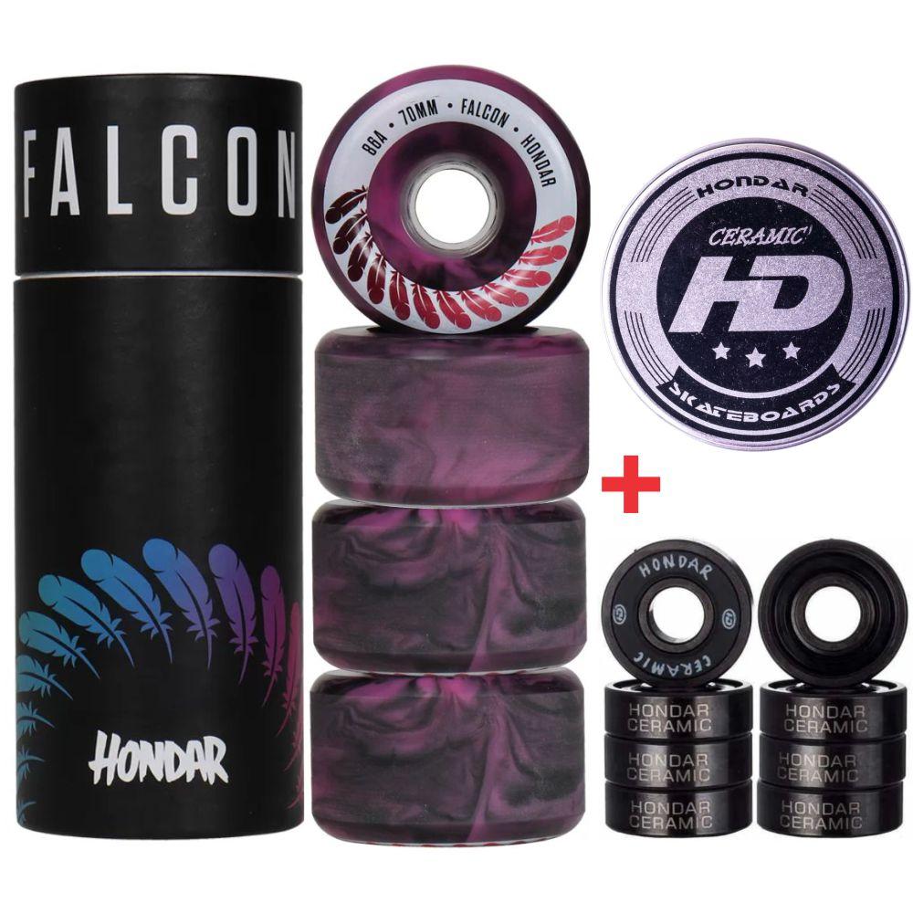 Roda Falcon 70mm 86A + Rolamento Hondar Ceramic Preto