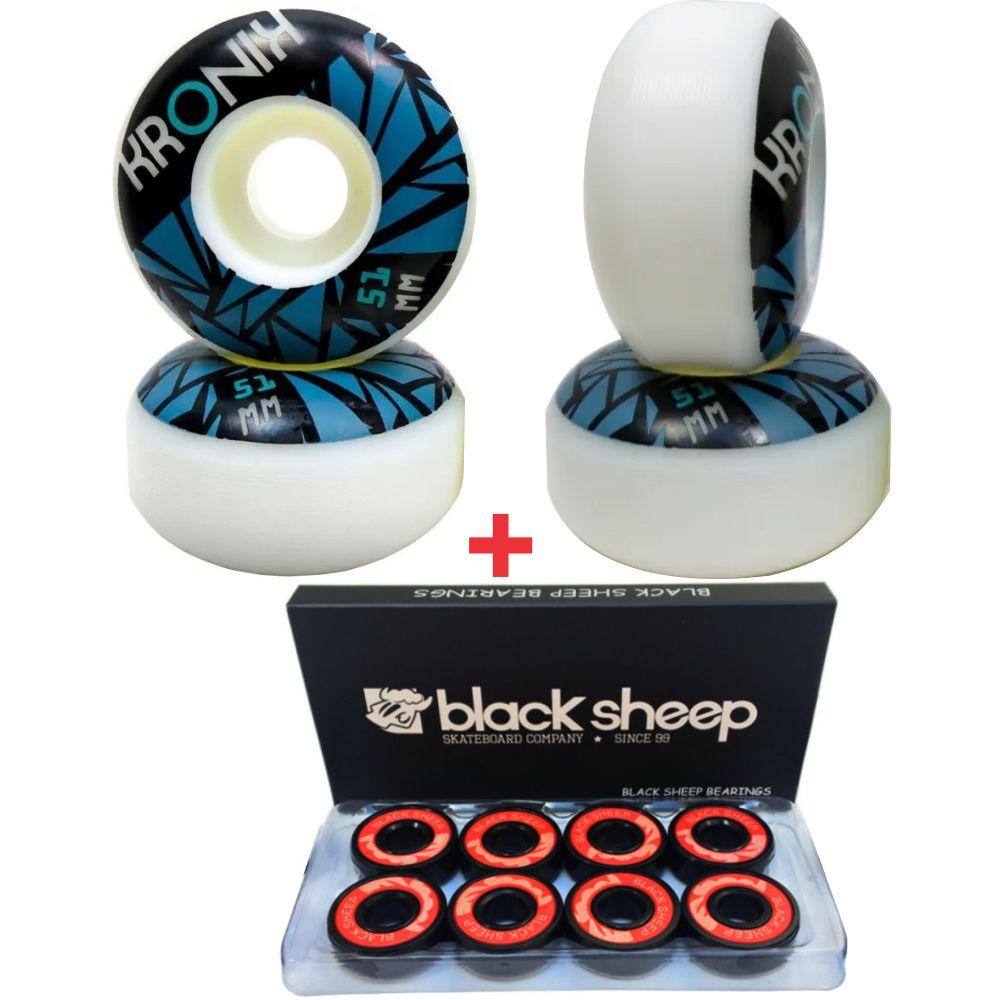 Roda Kronik 51mm 98A + Rolamento Black Sheep Black