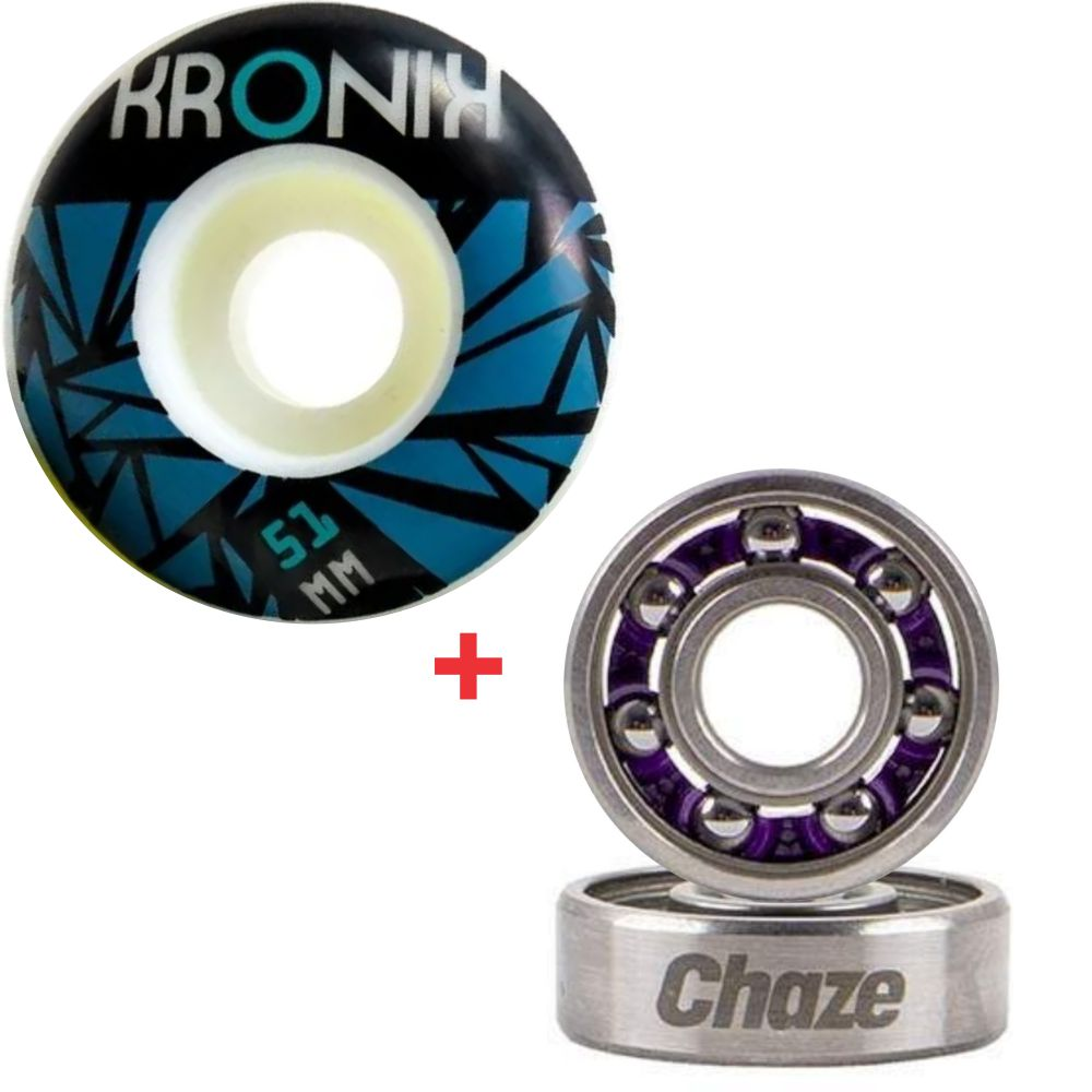 Roda Kronik 51mm 98A + Rolamento Chaze Naked's