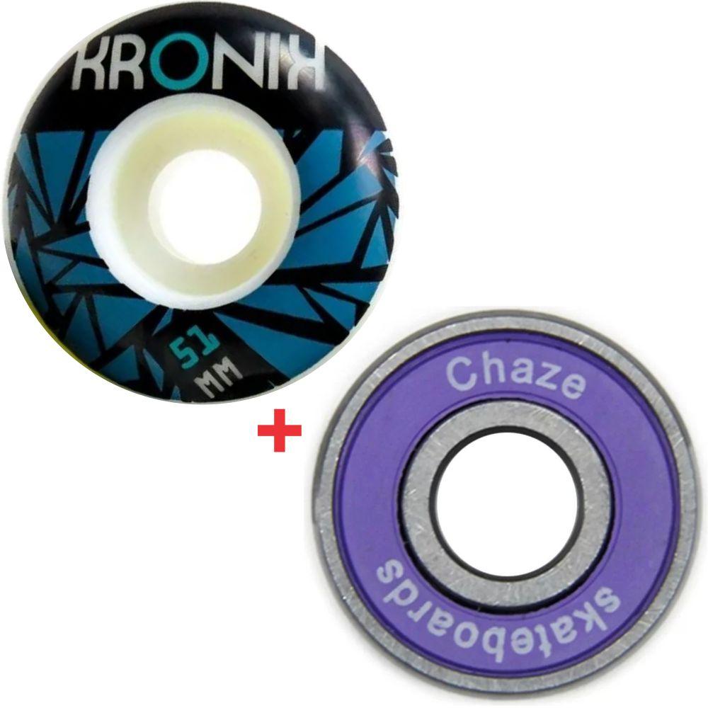 Roda Kronik 51mm 98A + Rolamento Chaze Roxo