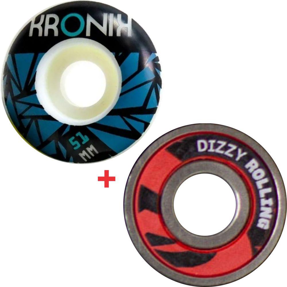 Roda Kronik 51mm 98A + Rolamento Dizzy Rolling
