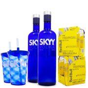 Combo 2x Vodka Skyy 980ml + 2x Copos Ed. Limitada Skyy + 8x Red Bull Tropical Edition 250ml