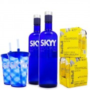 Combo 2x Vodka Skyy 980ml + 2x Copos Ed. Limitada Skyy + 8x Red Bull Tropical Edition 250ml