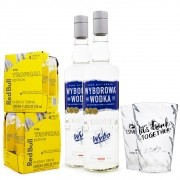 Combo 2x Vodka Wyborowa 750ml + 8x Red Bull Tropical Edition 250ml + 2x Copos Let's Drink Togheter