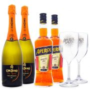 Combo Aperol Spritz - Aperol + Espumante Italiano Cinzano Pro-Spritz + Taças