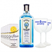 Combo Bombay Sapphire 750ml + 6 Tônicas St. Pierre 270ml + 2 Taças Bombay