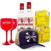 Combo Boné Gin Lovers - 2 Gin Beefeater 750ml + 8 RedBull Tropical + 2 Taças de Acrílico + Boné
