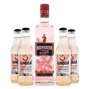 Combo Gin-Tônica Rosé - 1 Gin Beefeater Pink 750ml + 4 Tônicas Wewi Rosé 255ml