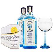 Combo G&T 2 Gin Bombay Sapphire + 6 Tônicas St. Pierre + Taça de Vidro