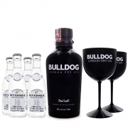 Combo G&T Bulldog Gin + 4 Tônicas Riverside + 2 Taças de Plástico Bulldog