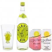 Combo Gin Atlantis 900ml + 3 Tônicas St. Pierre + 3 Pink Lemonade St. Pierre + Copo Gin Atlantis