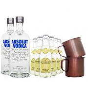 Combo Moscow Mule Clássico - 2x Absolut Vodka + 6x Ginger Beer Riverside + 2x Canecas de Aluminio