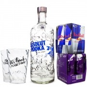 Combo Vodka Absolut Comeback 1L + 4 Red Bull Açaí Edition 250ml + 4 Red Bull 250ml + 2 Copos de Acrílico