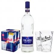 Combo Vodka Finlandia 1L + 4 Red Bull 250ml + 2 Copos de Acrílico