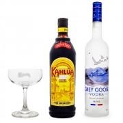 Espresso Martini Cocktail Combo - Vodka Grey Goose + Licor Kahlúa + Taça Coupé