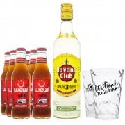 Kit Cuba - Rum Havana 3 Anos + 6 Refri Cola Wewi + 2 Copos de Acrílico
