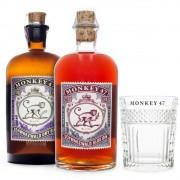 Kit Gin Monkey 47 500ml + Sloe Gin Monkey 47 500ml + Copo Exclusivo da Marca