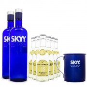 Kit Moscow Mule - 2 Vodkas Skyy + 1 Caneca de Inox + 6 Tonica Ginger Riverside