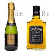 Kit Padrinhos de Casamento 3 - 8 Jack Daniel's Miniatura 200ml + 8 Espumante Chandon Baby Brut 187ml