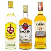 Kit Rum 3 4 5 Anos - Havana Club 3 Anos + Bacardi 4 Anos + Angostura 5 Anos