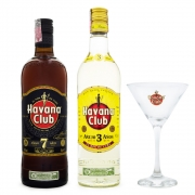 Kit Rum Havana Club 7 Anos 750ml + Havana Club 3 Anos 750ml + Taça Martini de Vidro