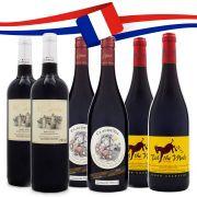 Kit Vinhos Tintos da França - 2x Le Cazelou + 2x Paul Mas Claude Val + 2x Ted the Mule