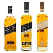 Kit Whisky Johnnie Walker com Idade Declarada - Black 12 Green 15 e Ultimate 18 Anos
