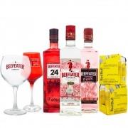 Mega Combo Beefeater Gin + Beefeater 24 + Beefeater Pink + 2 Taças de Vidro + 8 Red Bull Tropical 250ml