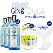 Super Combo G&T - 3 Gin Bombay Sapphire 750ml + 12 Tônicas Wewi 255ml + 4 Taças de Acrílico Bombay