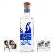 Tequila Sauza Signature Blue Silver 100% Agave 750ml + 4 Copos Shot