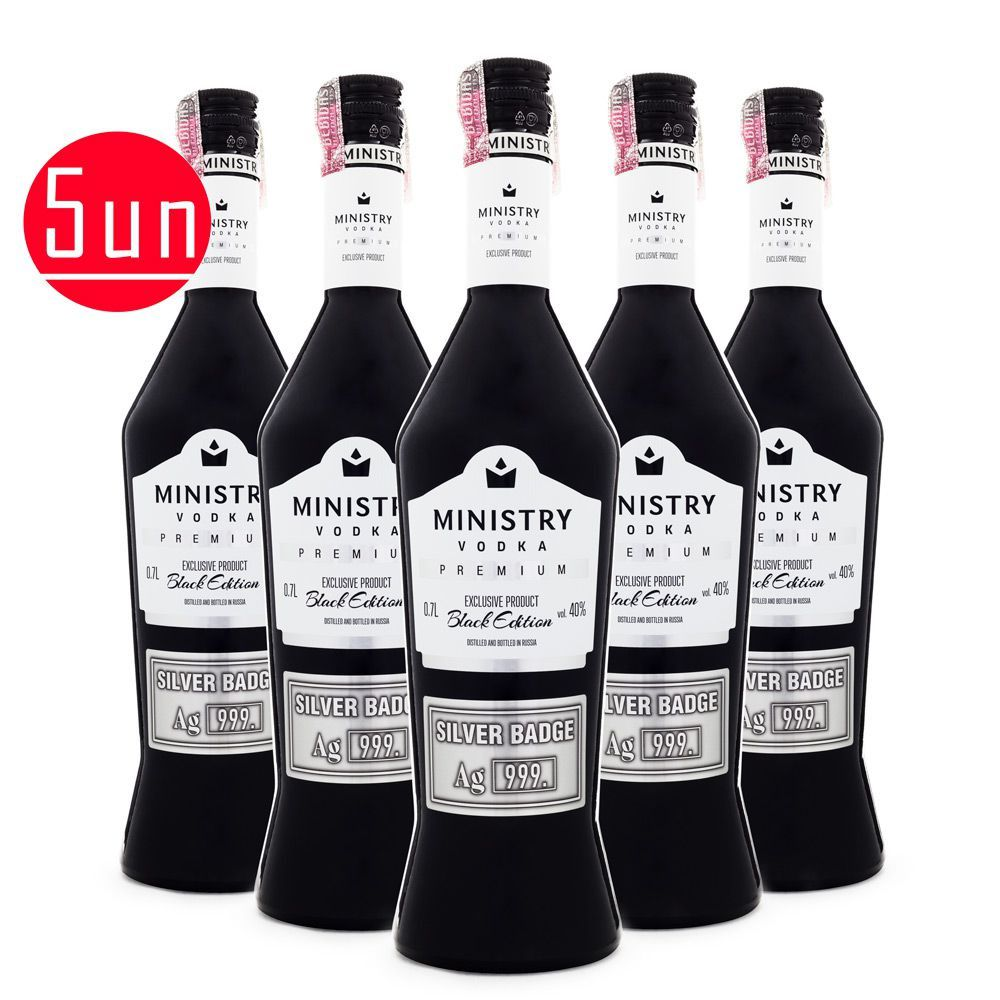 5 Garrafas Vodka Ministry Premium Black Edition 700ml