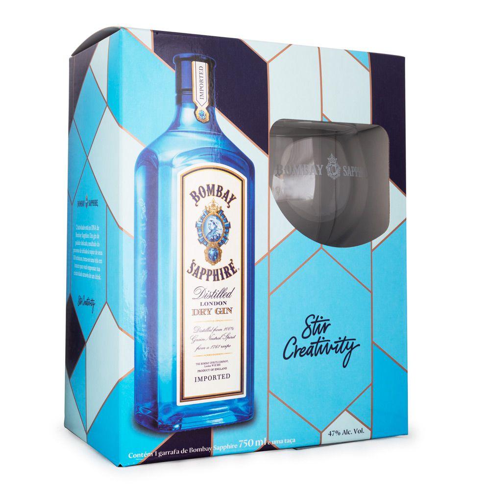 Gin Bombay Sapphire - Kit com Taça de Vidro