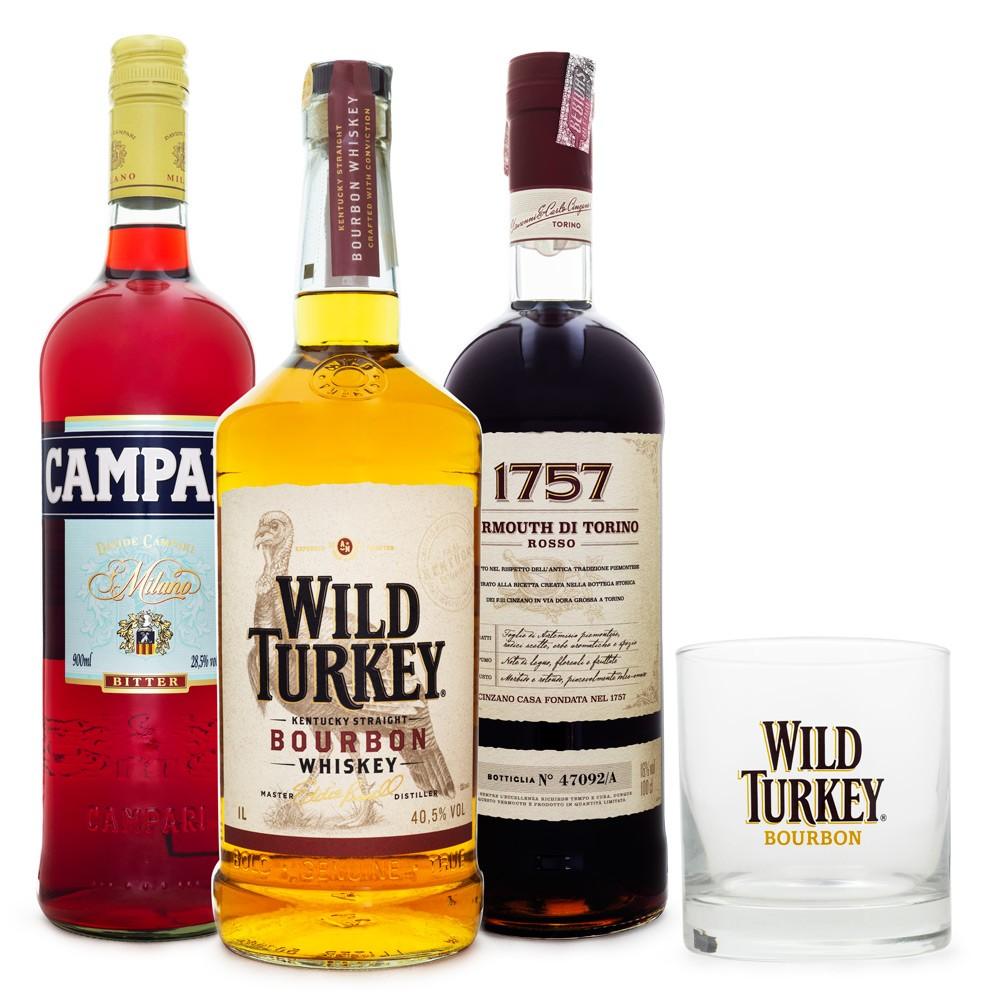 Boulevardier Cocktail Combo - Wild Turkey Bourbon Whiskey + Vermouth 1757 + Campari + Copo Wild Turkey