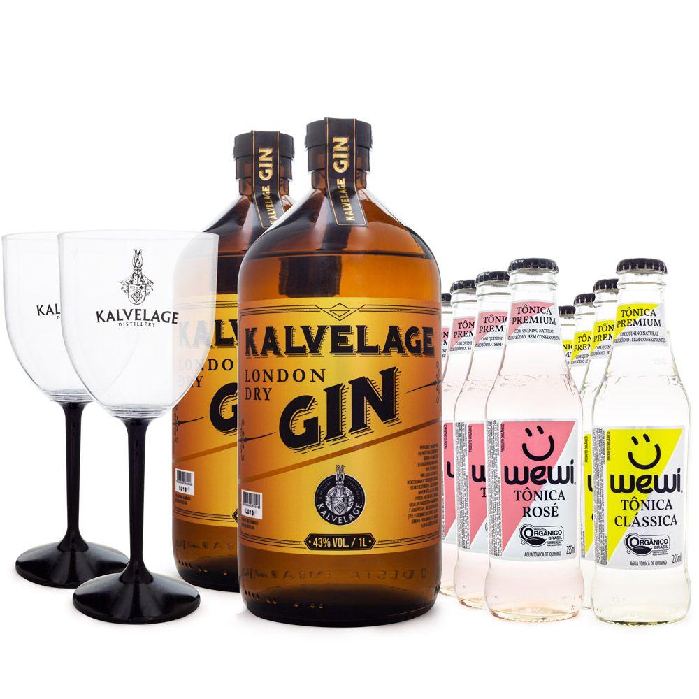 Combo 2 Gin Kalvelage + 6 Tônicas Clássica Wewi + 6 Tônicas Rosé Wewi + 2 Taças de Acrílico da Marca