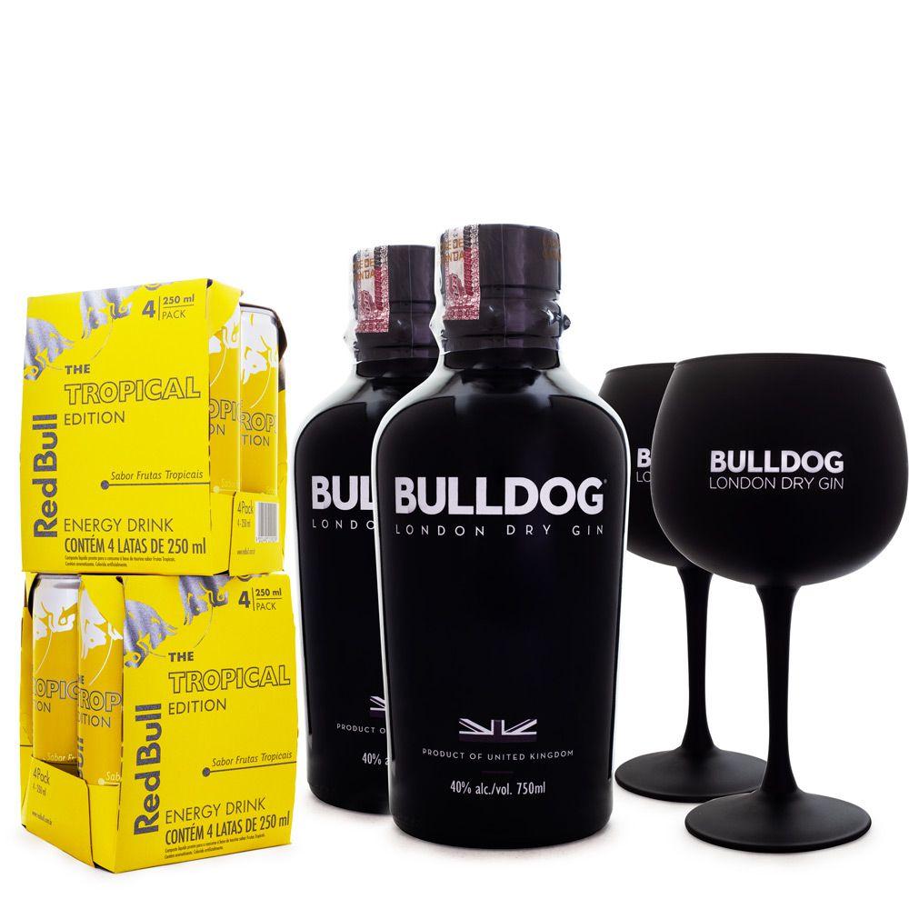 Combo 2x Bulldog Gin 750ml + 2x Taças de Vidro + 8x Red Bull Tropical Edition 250ml
